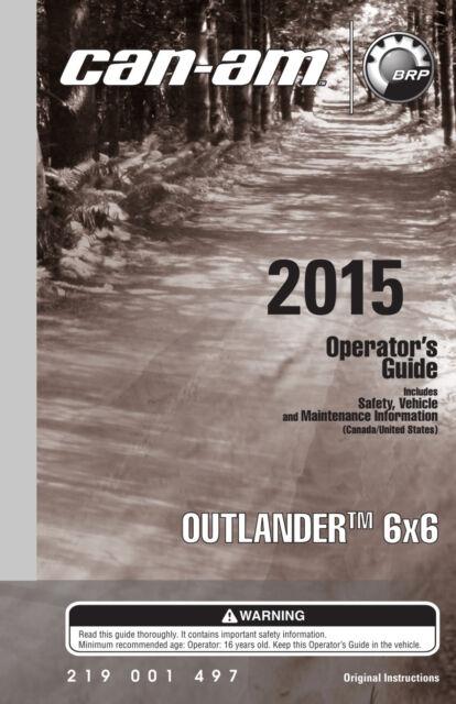 can am 2015 outlander 6x6 owners operators manual paperback ebay rh ebay com can am commander 1000 operator's manual can am commander 1000 operator's manual