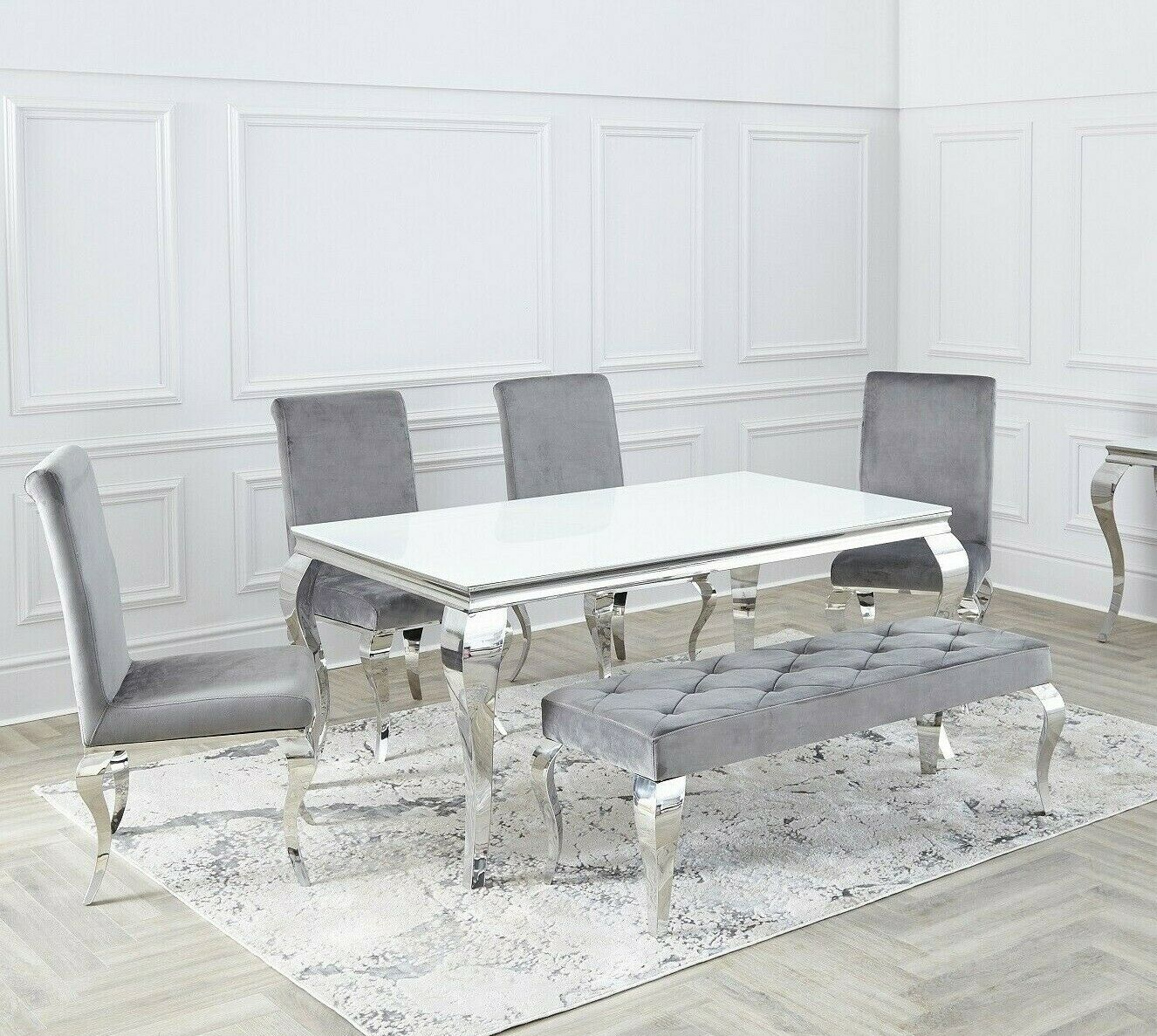 Modern Grey Glass Top 1 6m Dining Table Set 6 X Silver Velvet Chairs For Sale Ebay