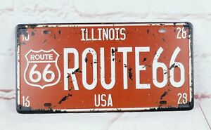 WALL-HANGING-LICENSE-PLATE-ROUTE-66-Vintage-metal-signs-HOME-DECOR