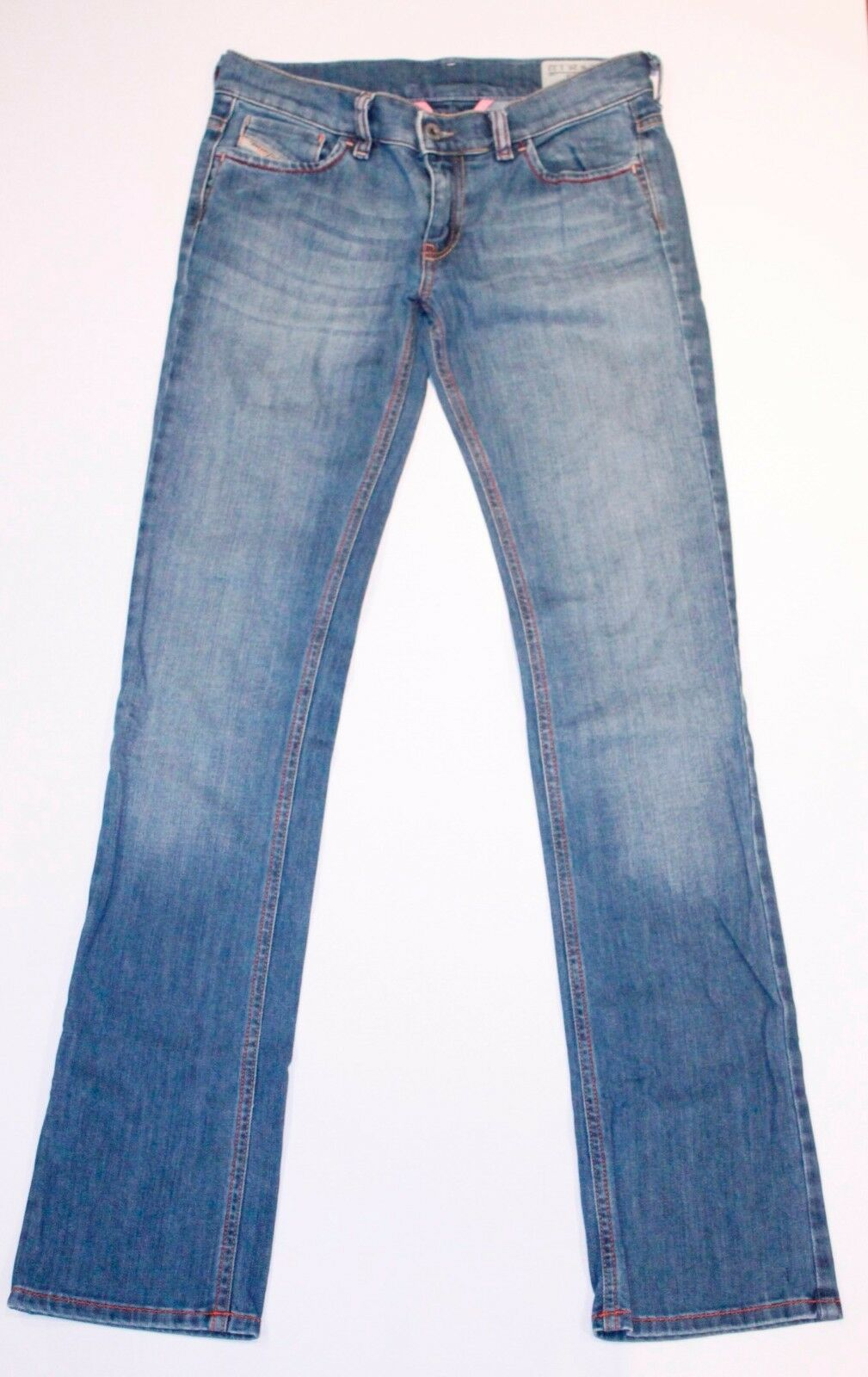 DIESEL LIV bluee Wash 006OL Stretch DENIM Jeans BOOT CUT Low Rise ITALY 26 x 32