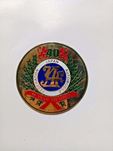 Vintage JAF JAPAN AUTOMOBILE FEDERATION 40 YEAR MEMBER MEDAL BADGE brass RETRO