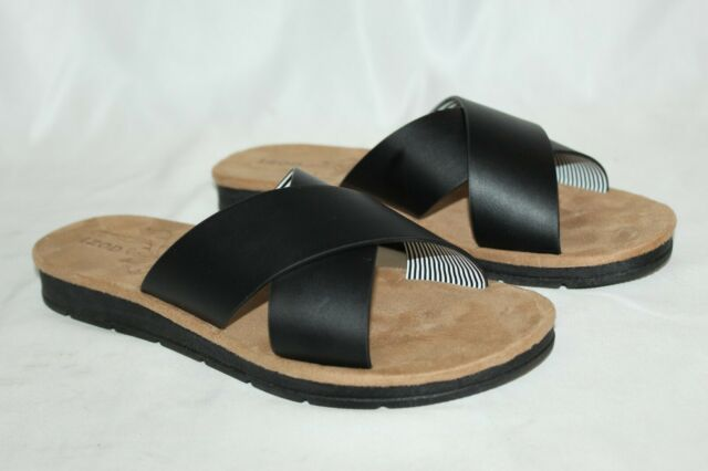 BRAND NEW IZOD Women's Alyssa Strap Slide Sandals Black Size 9