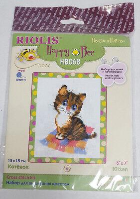 Happy Bee Cross Stitch Kits for Beginners Kitten HB-068