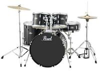 Pearl Roadshow Rs525sc 5-piece Drum Set W/ Hardware & Cymbals (jet Black) on Sale