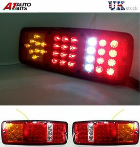 2X-LED-REAR-TAIL-LIGHTS-LAMP-12V-33-TRAILER-TRUCK-BUS-VAN-STOP-INDICATOR-REVERSE