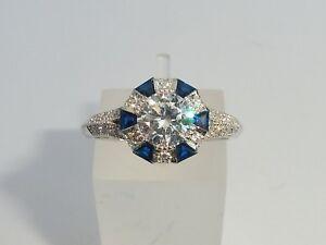 Damen-925-Sterling-Solide-Silber-Blau-Weisser-Saphir-Kunst-Deko-Target-Design-Ring
