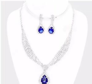 ae5a7a0f5ac45 Details about Rhinestone Silver Crystal Royal Blue Formal Pageant Necklace  Jewelry Set Earring