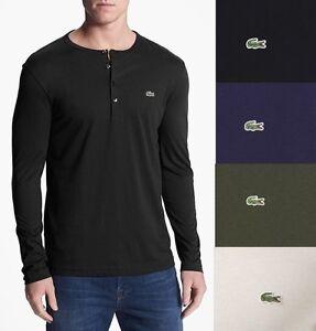 LACOSTE-Men-Pima-Henley-Shirt-Top-Under-Shirt-Black-Blue-Grey-Olive-White-TH3082