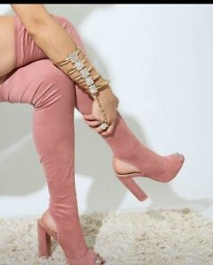 Kirsty Soft Faux Suede Blush peep toe