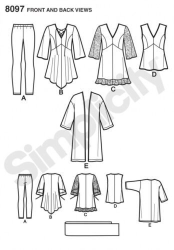Top Simplicity Ladies Sewing Pattern 8097 Tunic Simp... Kimono /& Leggings