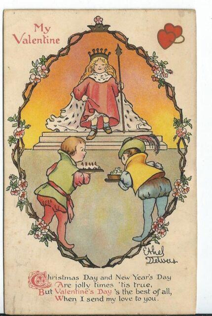 CH-064 My Valentine Artist Signed Etthel Delveis? Children Divided Back Postcard