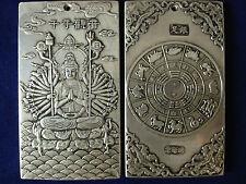 Rare,tibetan tibet old silver guan kwan yin buddha dragon statue nepal thanka N