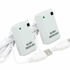 2 Rechargeable Battery Pack + Cable for XBOX 360 Controller WHITE Play & Charge
