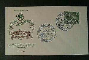 """Nouvelle Mode Germania,germany Sarre Saar 1958 """"homburg """"1v.cpl Set Us On Letter Fdc Apparence EsthéTique"""
