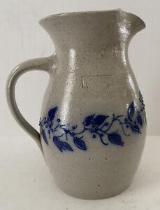 Vtg-Salmon-Falls-Stoneware-Pitcher-American-Salt-Glazed-Pottery-Speckled-Gray