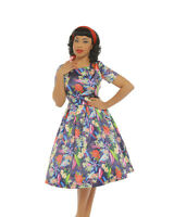 'elodie' Floral Navy 8-18(aus10-aus20)lindy Bop Swing Dress Pin Up$7off Til Aug