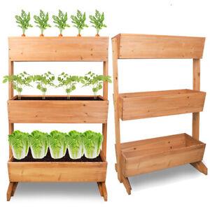 3 Tier Wooden Vertical Raised Garden Bed Vegetable Planter Box Outdoor Indoor Us Ebay