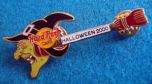 En-Ligne-Halloween-WITCH-039-S-Tete-amp-Chapeau-Balais-Guitare-2000-Hard-Rock-Cafe-Pin