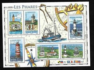 Bloc-Feuillet-2007-N-114-Timbres-France-Neufs-Les-Phares