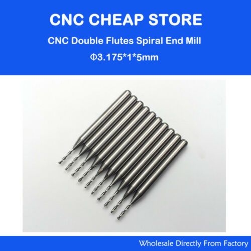 10pcs Cardibe Double flute End Milling Cutter CNC Router Bits 3.175mm x1x5mm