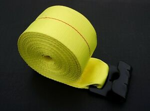 "4/"" x 30/' Winch Strap w// Black Flat Hook 2 pack yellow tie 4 safe"