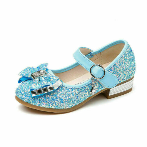 Princess Shoes Kids Girls Toddler Bowknot Sequins  Dress Party Flat Ankle Shoes
