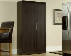 Details about Tall Storage Cabinet Kitchen Pantry Office Closet  Freestanding Doors Shelves
