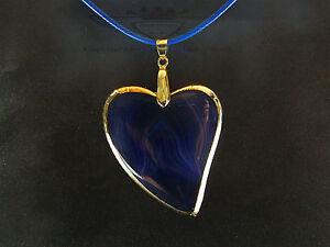 Lederkette-Herz-Achat-Blau-24-Karat-vergoldet-Goldrand-Luxurioes