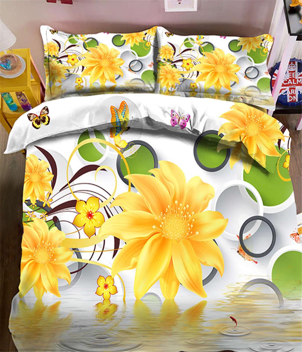Winter Jasmine 3D Printing Duvet Quilt Doona Covers Pillow Case Bedding Sets