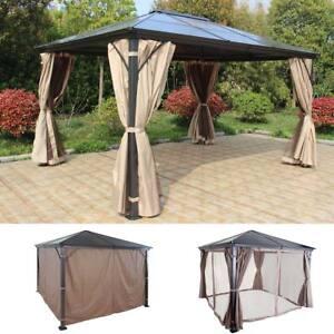 hardtop pergola hwc c74 garten pavillon dach seitenwand moskitonetz alu ebay. Black Bedroom Furniture Sets. Home Design Ideas