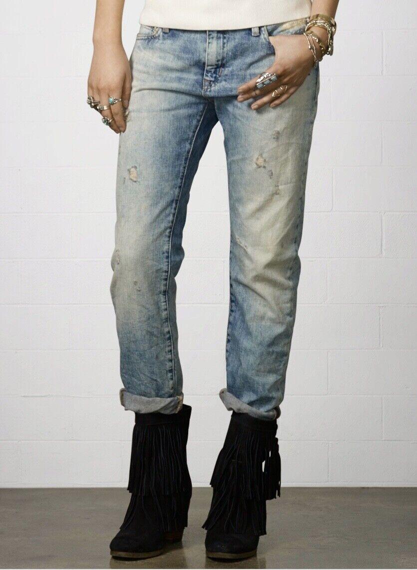 Ralph Lauren Denim and Supply Women's Jeans Boyfriend Distressed Ripped Sz 26