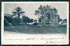 Napoli Città Villa Nazionale PIEGHINA cartolina XB2367