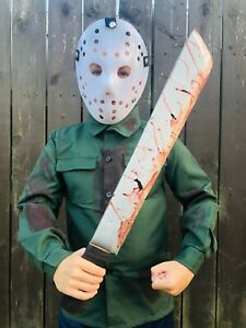 Kids-Jason-Halloween-Costume-Friday-Hockey-Mask-Green-Shirt-13th-Bloody-Hood