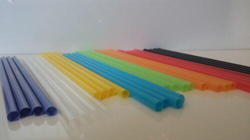 "X400 PCS COLD DRINKING STRAWS FLEXIBLE BLACK+COLORFUL Drink Straw 9/""x6mm Plastic"