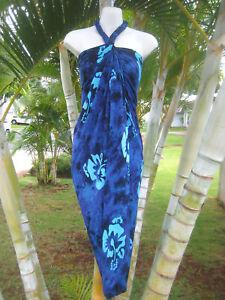 4b5568e1c4446 Image is loading Hawaiian-Hawaii-Sarong-Plus-Size-Blue-Hibiscus-Beach-