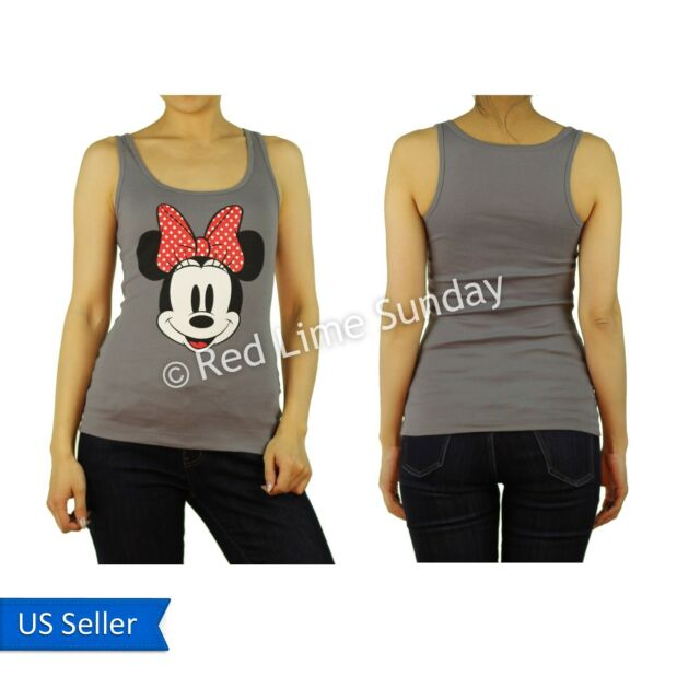 Disney Minnie Mouse Big Smile Red Ribbon Dot Color Cotton Print Tank Top Junior