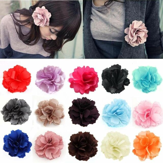 New Fashion Woman Lady Satin Peony Flower Hair Clip Hairpin Brooch 18 Colors HG