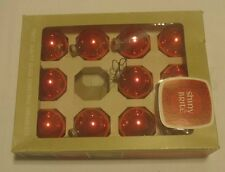 Box of 11 Vintage Shiny Bright Red Christmas Ornaments - 1 1/2 inch dia