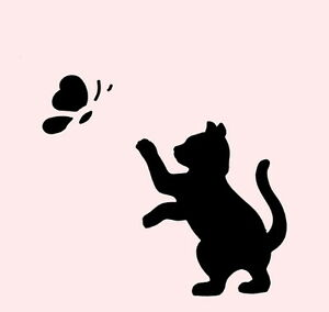 Image Is Loading 3 1 2 034 Cat Stencil Erfly Cats