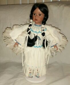 Timeless-Limited-Collection-Native-American-Indian-Porcelain-Doll-w-Stand