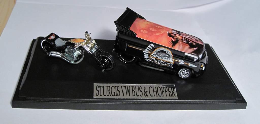 Hot Wheels Liberty Promotions 2005 Sturgis VW DRAG BUS & CHOPPER Guy Rebel Run