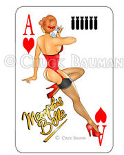 Bomber Girl MEMPHIS BELLE Air Corps WW2  pin-up playing card decal sticker