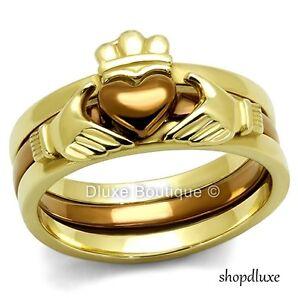 womens irish claddagh chocolate 14k gold plated wedding ring set size - 14k Gold Wedding Ring Sets