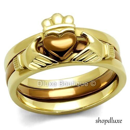 Women's Irish Claddagh Chocolate & 14k Gold Plated Wedding Ring Set Size 5-11