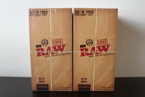 2-64-Packs-of-6-Ea-Classic-RAW-Rolling-Paper-Cones-Natural-Pre-Rolled-1-1-4