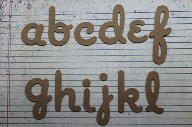 Script lowercase chipboard 2 inch tall alphabet diecuts 26 letters total
