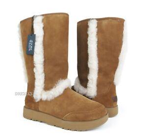 ad17af79777 Details about UGG Sundance Waterproof Chestnut Suede Fur Boots Womens Size  10 *NIB*