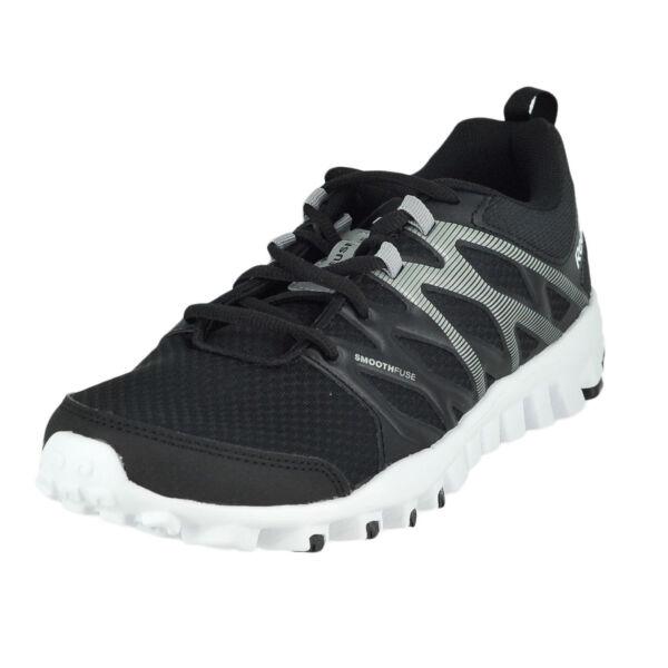 9b345e376aac Reebok Realflex Train 4.0 Black flat Grey white Mens Training Shoe Size 8m