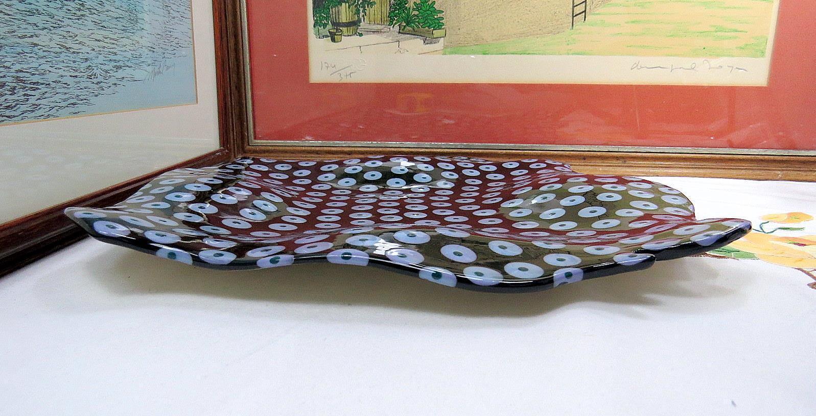 Groß Freie Form Form Form Porzellan Schwarz Blau & Grün Emaille Punkte 13   Wellig Platte   Niedrige Kosten  531a89
