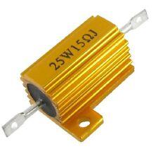 Gold Tone 25 Watt Power 15 Ohm 5% Aluminum Casing Wire Wound Resistor LW SZUS